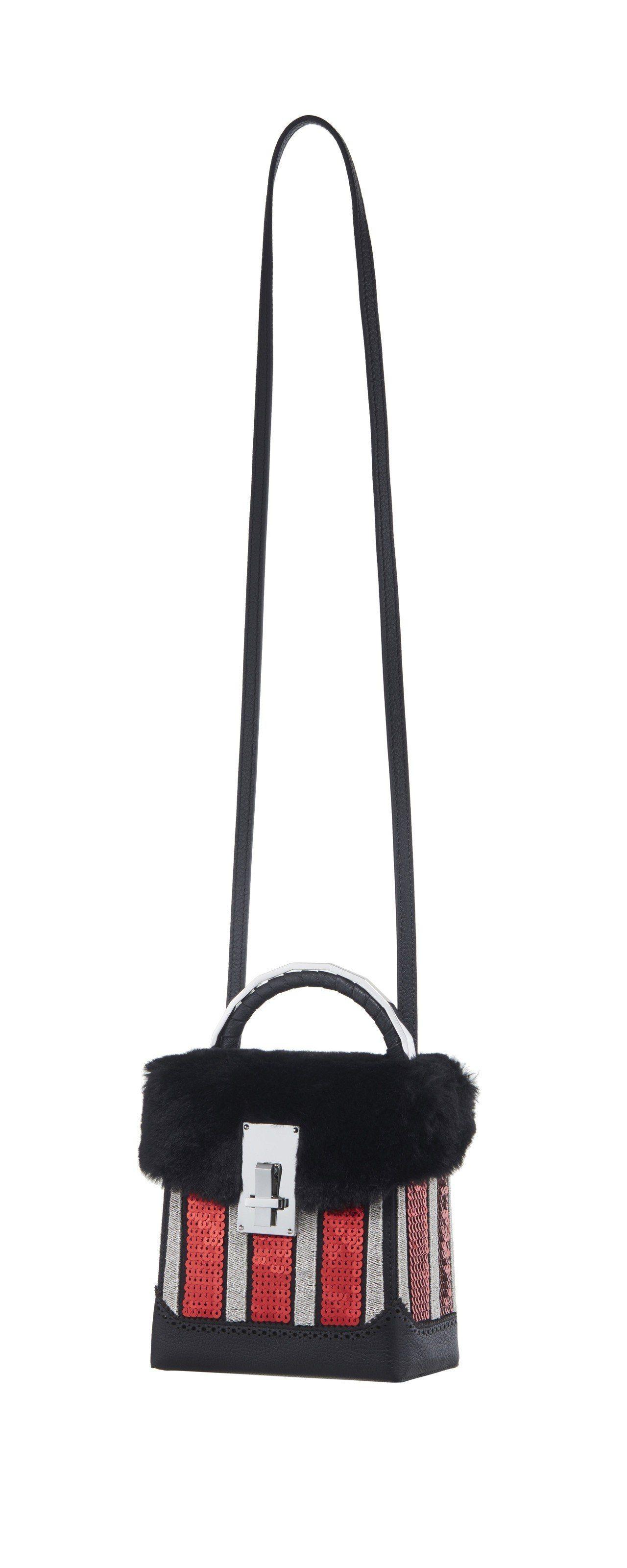 The Volon黑紅銀條紋拚色箱型手提包,售價34,080元。圖/onefif...