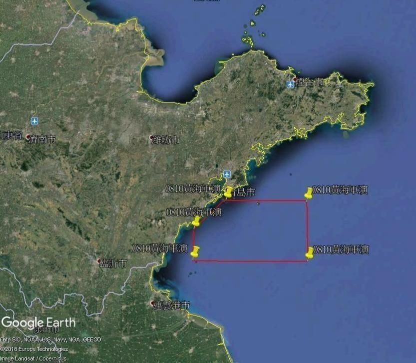 呂禮詩按中國海事局公布操演座標,標示出艦艇操演範圍。擷取自呂禮詩臉書網頁