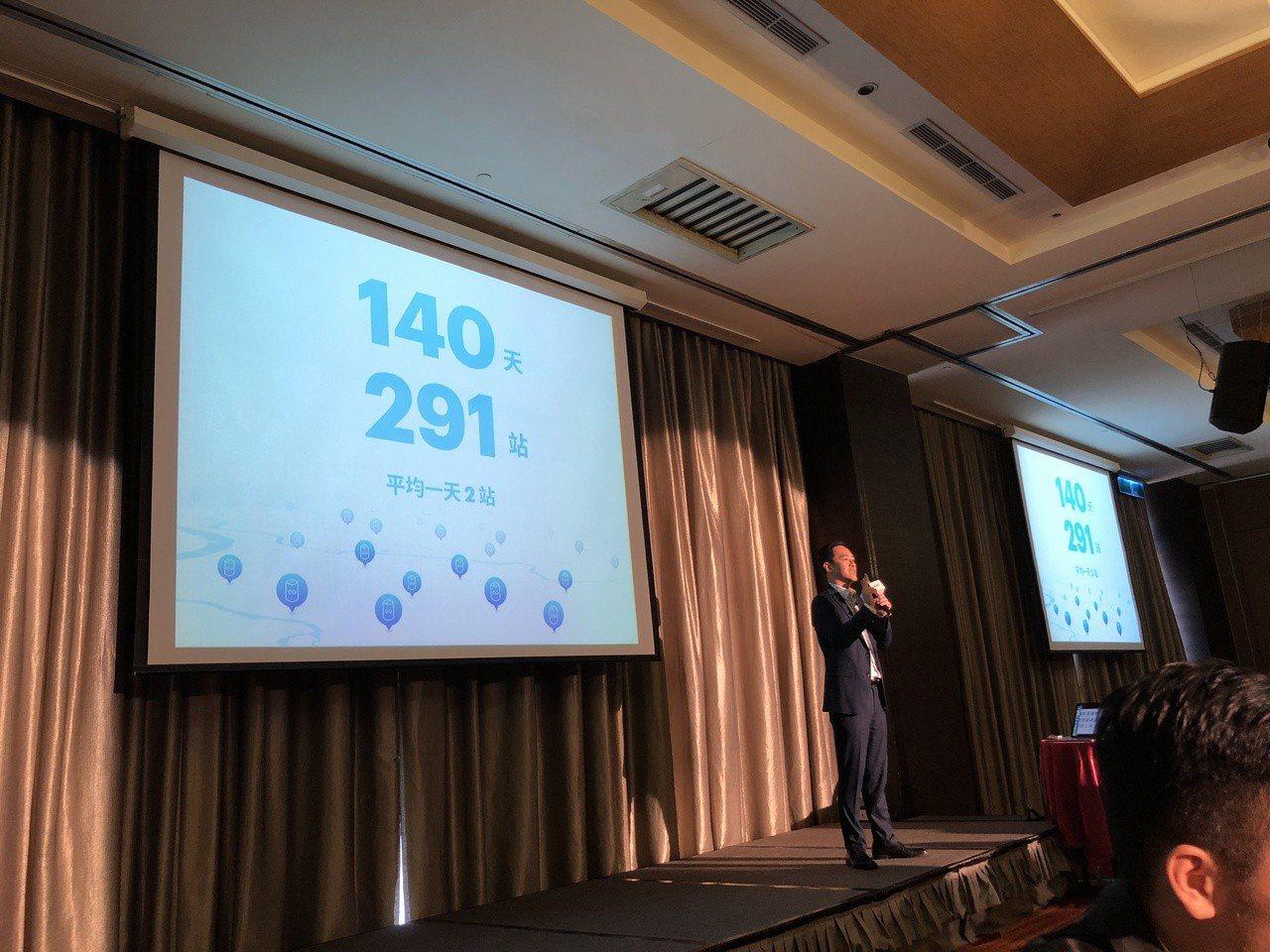 Gogoro副總潘璟倫指出,今年底Gogoro換電站要擴大到1000站。記者高詩...