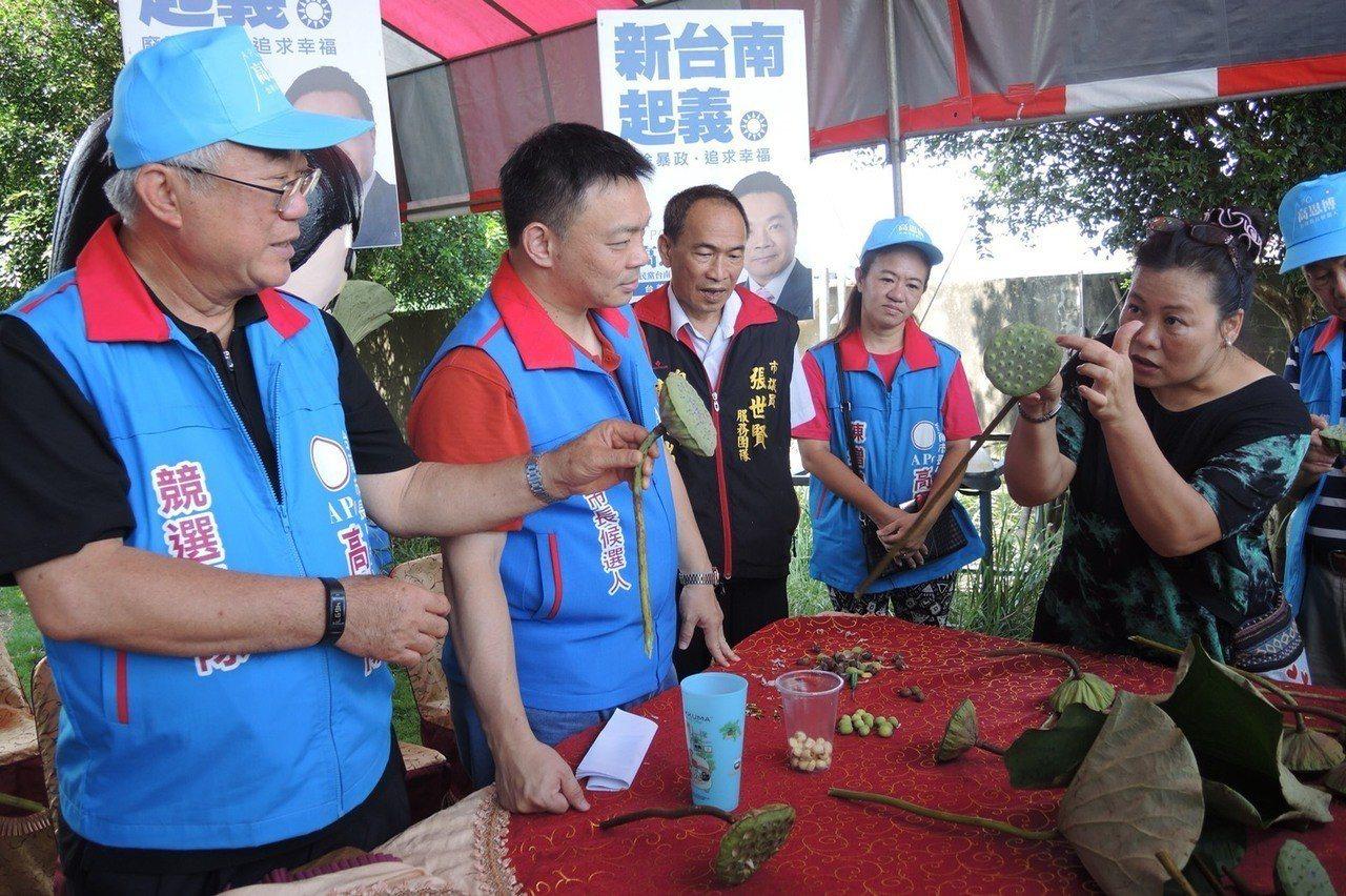 國民黨下屆台南市長提名人高思博(左二)與前農委會主委陳保基(左一),下鄉了解蓮花...
