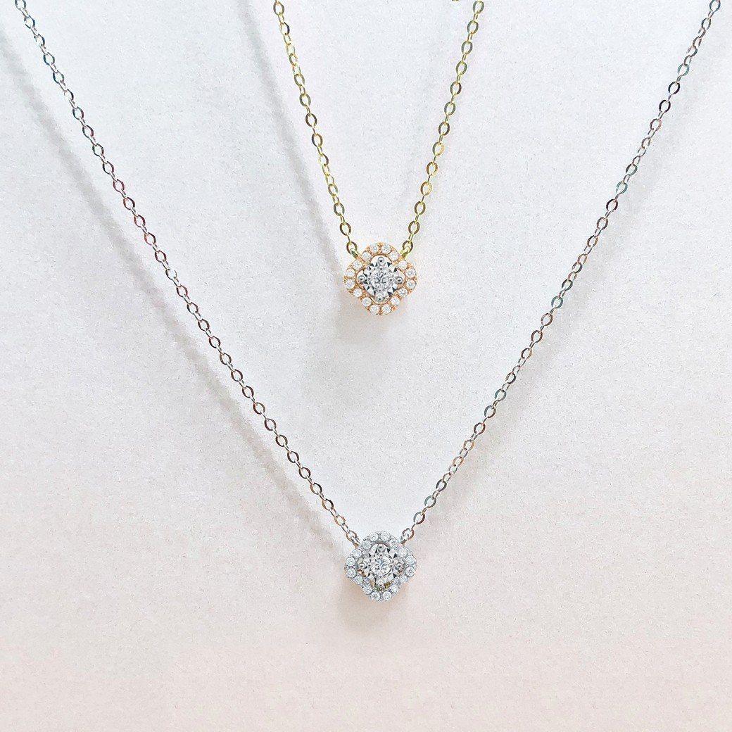 (由上至下)Just Diamond 愛相繫系列18K玫瑰金鑽石項鍊,13,80...