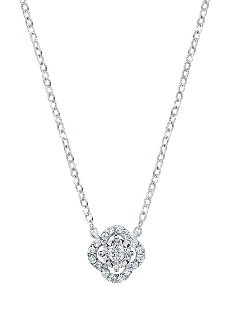 Just Diamond 愛相繫系列18K白金鑽石項鍊,13,800元。圖/鎮金...