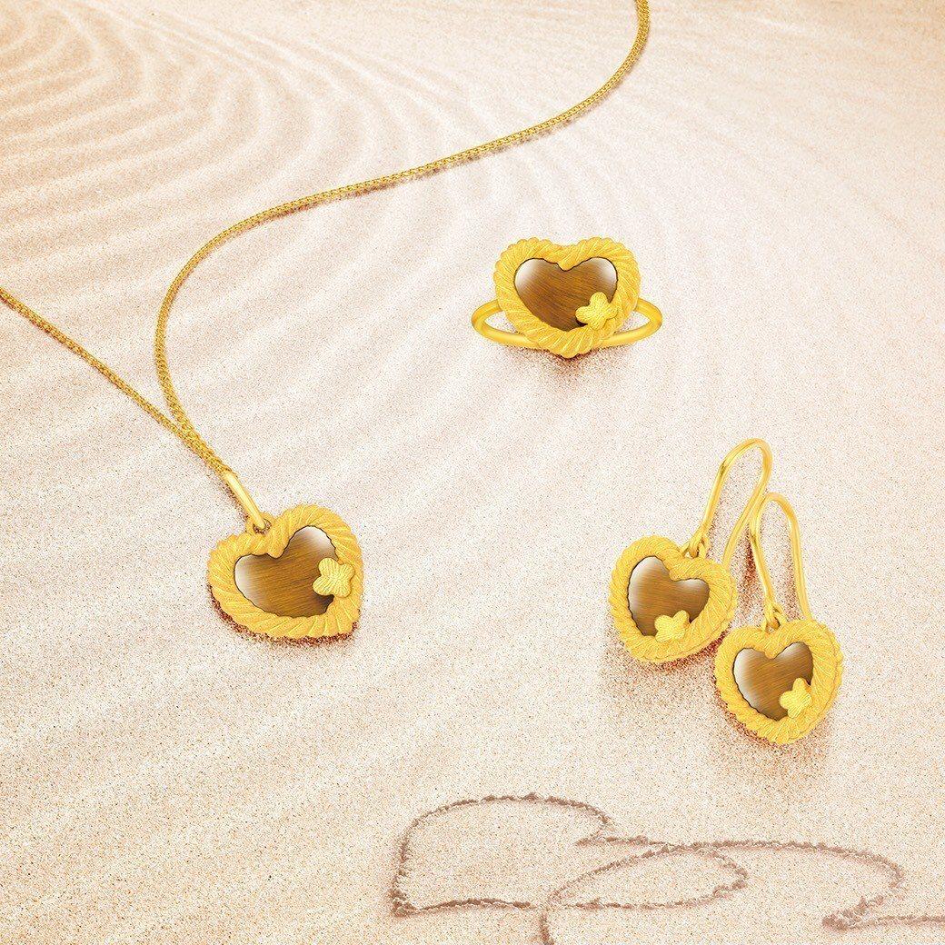 Just Gold 編愛系列純金吊墜,15,600元(不含鍊);純金耳環,31,...