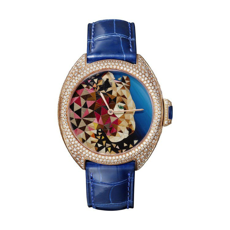 Clé de Cartier 美洲豹秸稈鑲嵌腕表,40 毫米玫瑰金鑲嵌鑽石與祖...