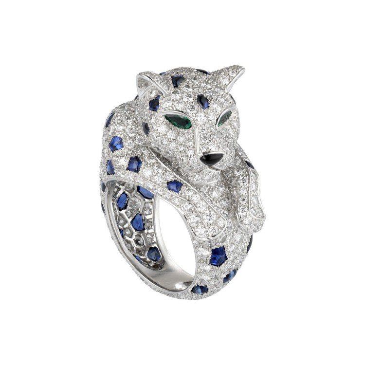 Panthère de Cartier 美洲豹藍寶石斑點戒指,鉑金鑲嵌藍寶石、...