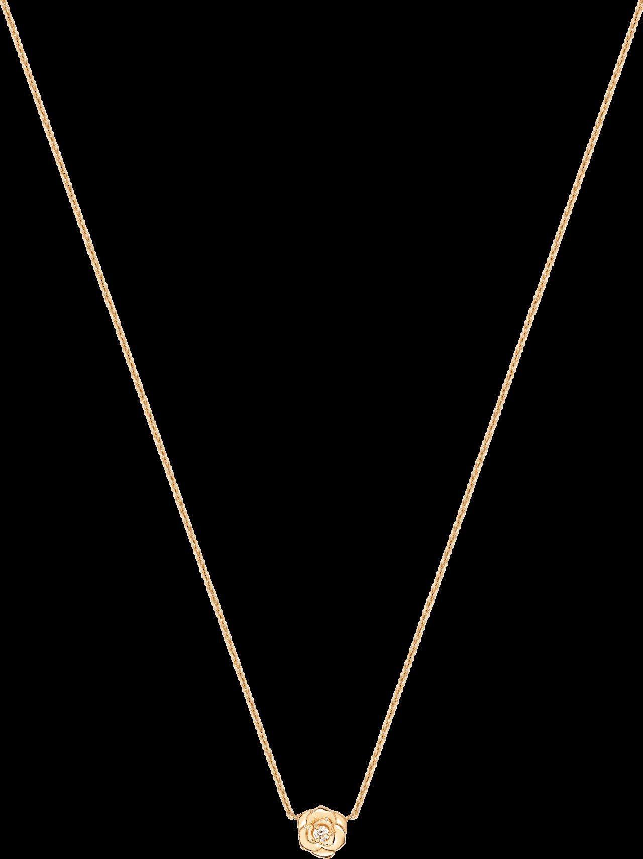 Piaget Rose系列項鍊,18K玫瑰金,鑲嵌1顆圓形美鑽約0.03克拉,4...