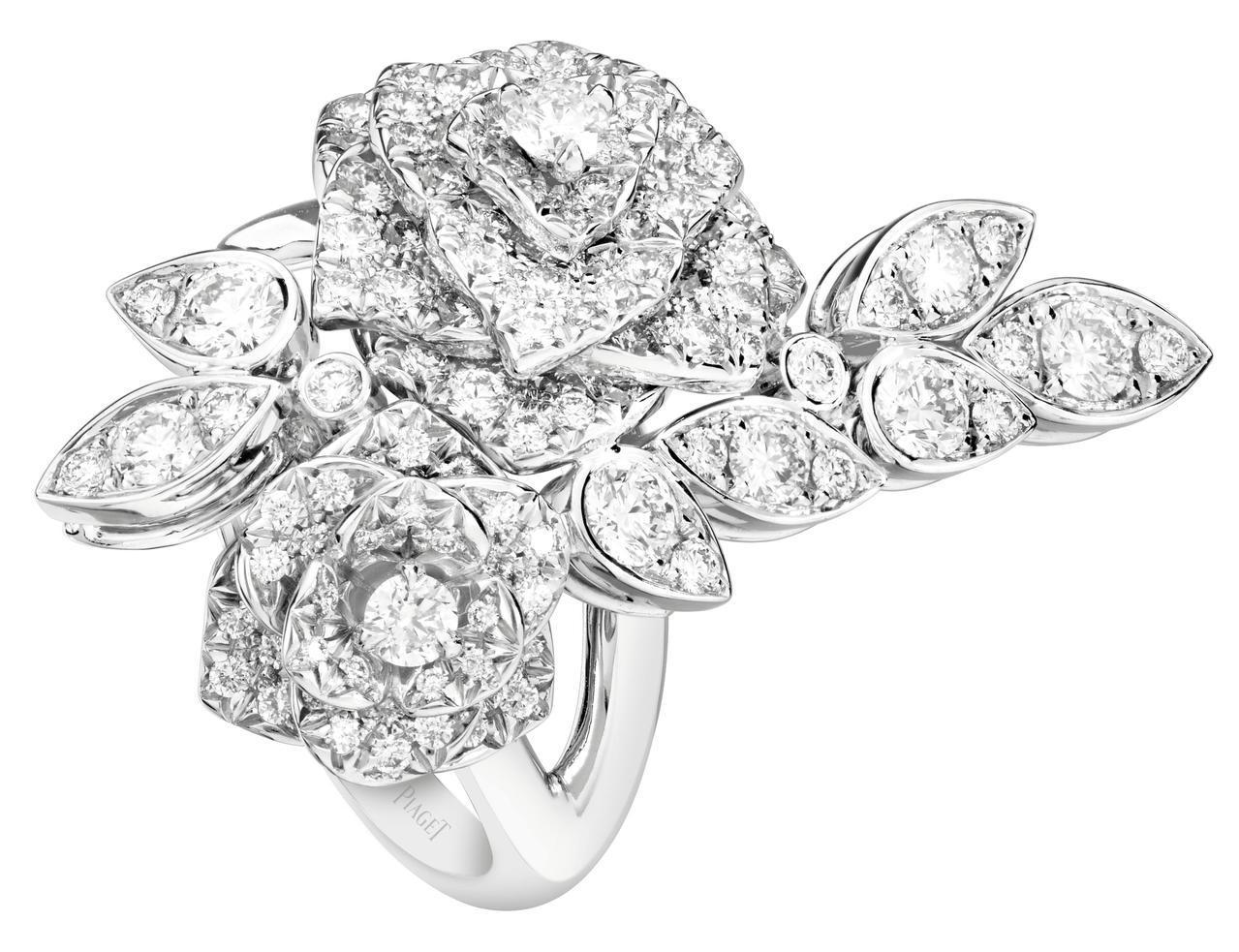 Piaget Rose系列指環,18K白金鑲嵌165顆圓形美鑽共約2.46克拉,...