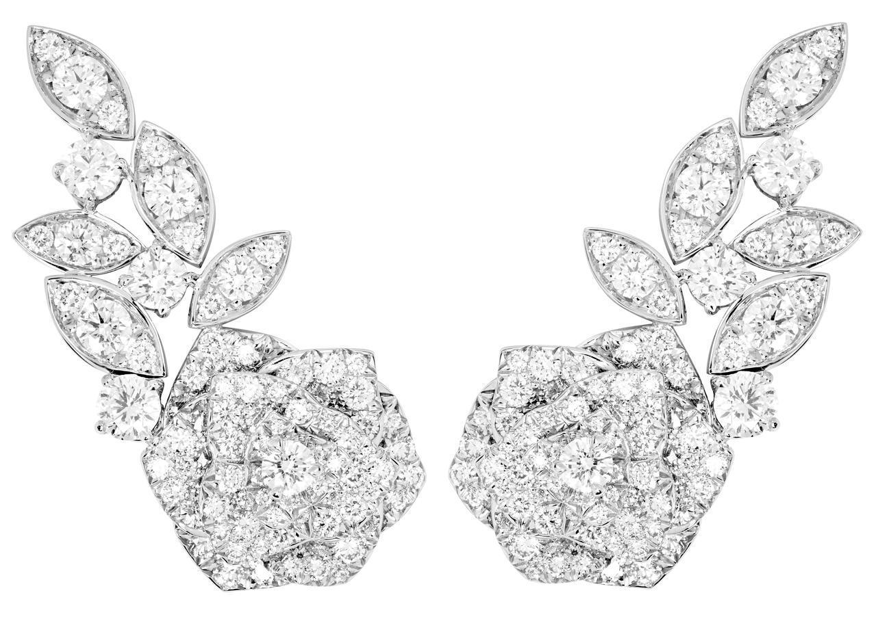 Piaget Rose系列耳環,18K白金鑲嵌208顆圓形美鑽共約4.32克拉,...