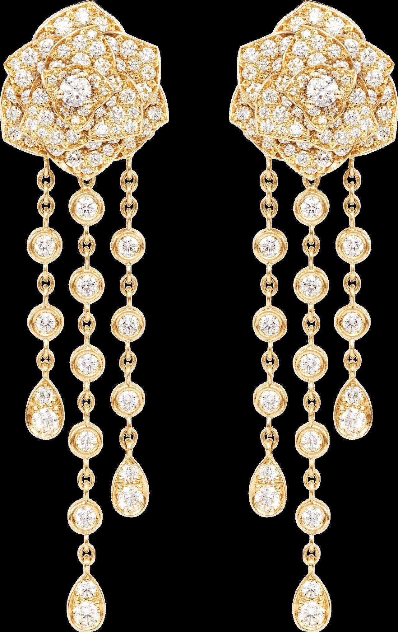 Piaget Rose系列耳環,18K玫瑰金鑲嵌204顆圓形美鑽 共約3.53克...