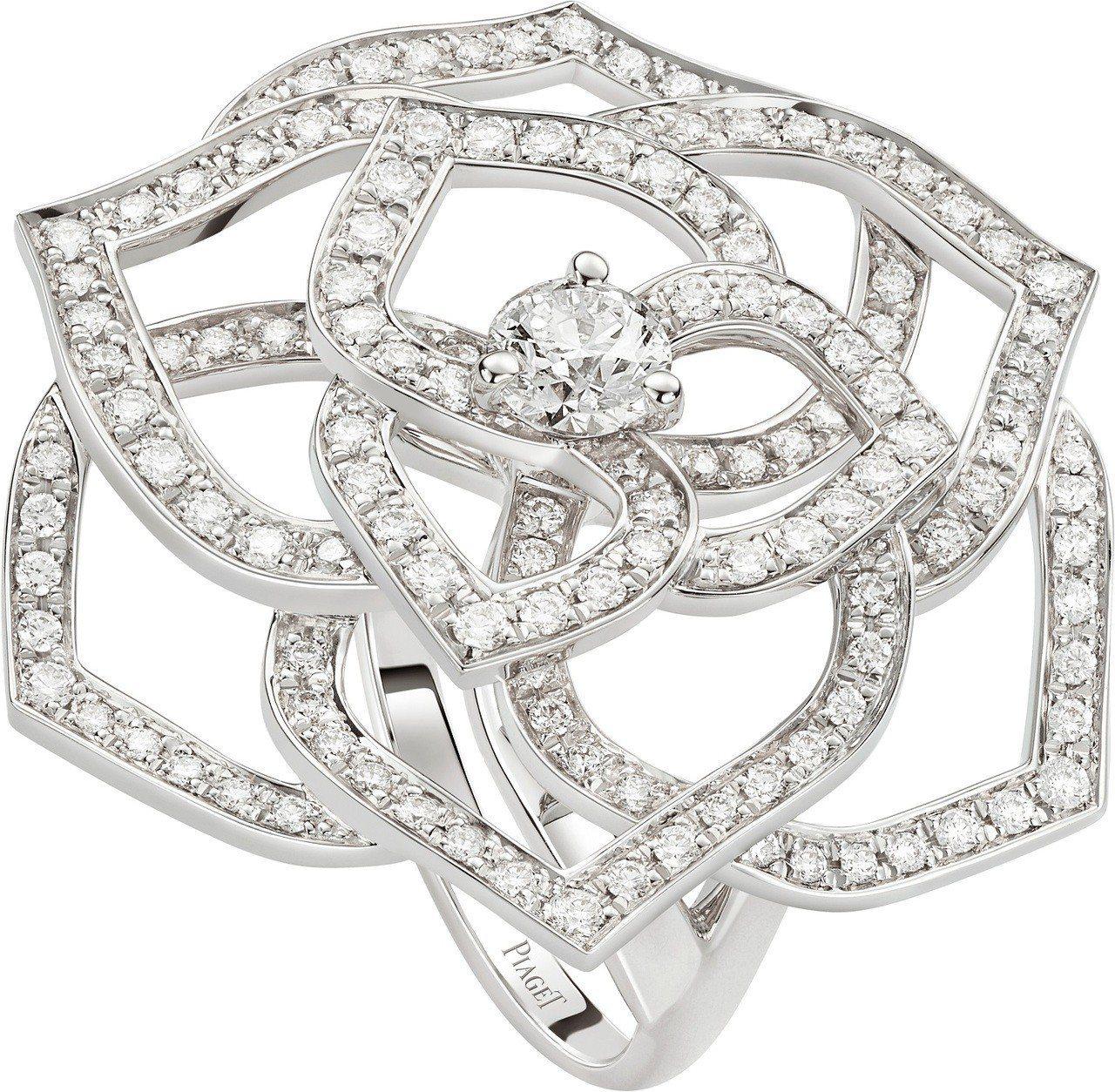 Piaget Rose系列指環,18K白金鑲嵌143顆圓形美鑽共約1.2克拉,4...