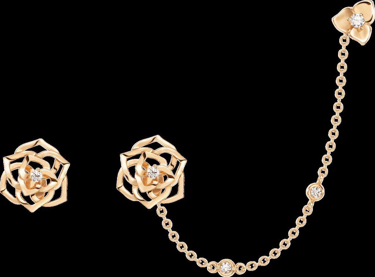 Piaget Rose系列耳環,18K玫瑰金鑲嵌2顆圓形美鑽共約0.06克拉,1...