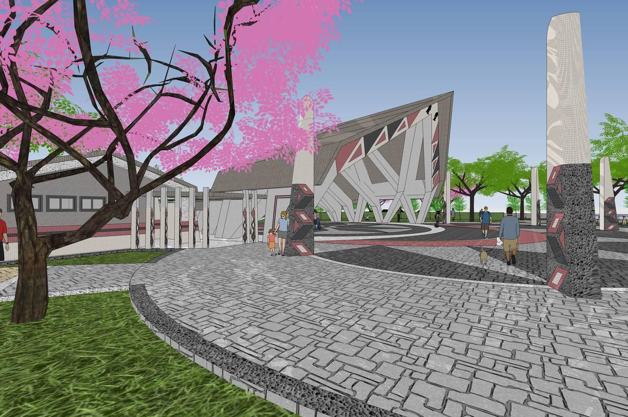 預計年底完工的慶豐部落聚會所共1071坪,主體廣場以阿美族、太魯閣族圖騰做設計,...