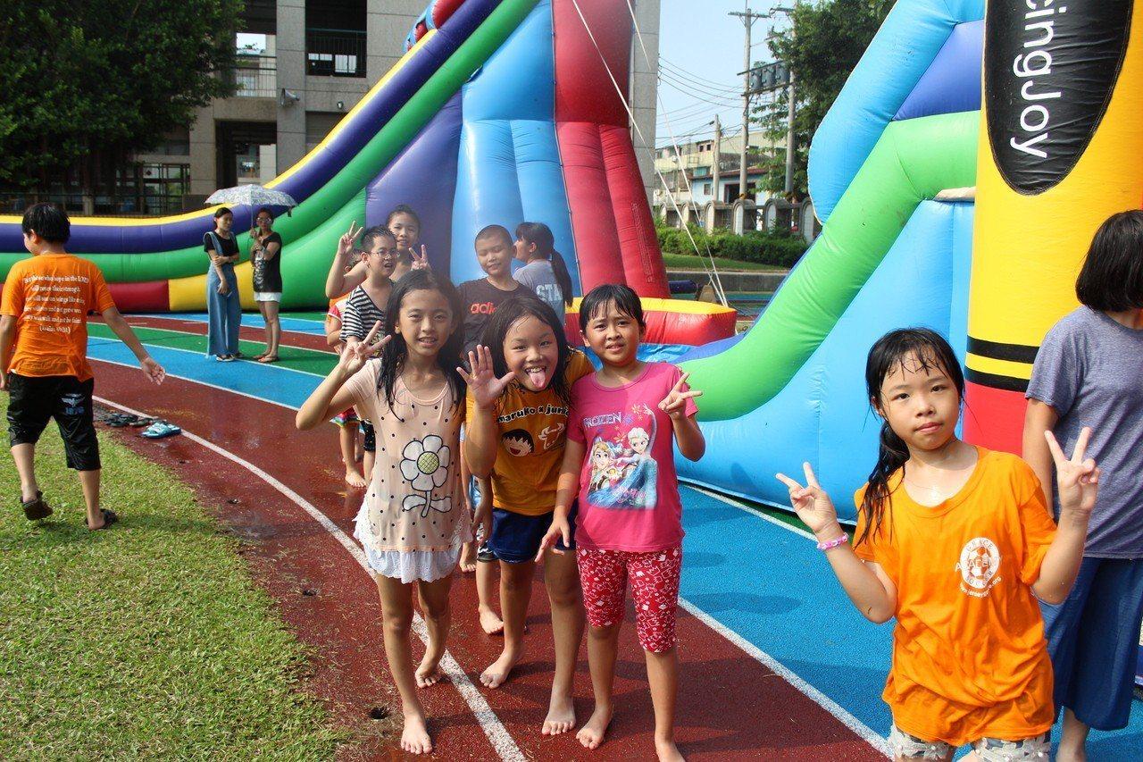 小朋友明天起還有兩天可到三和國小免費玩樂。 圖/三和國小提供