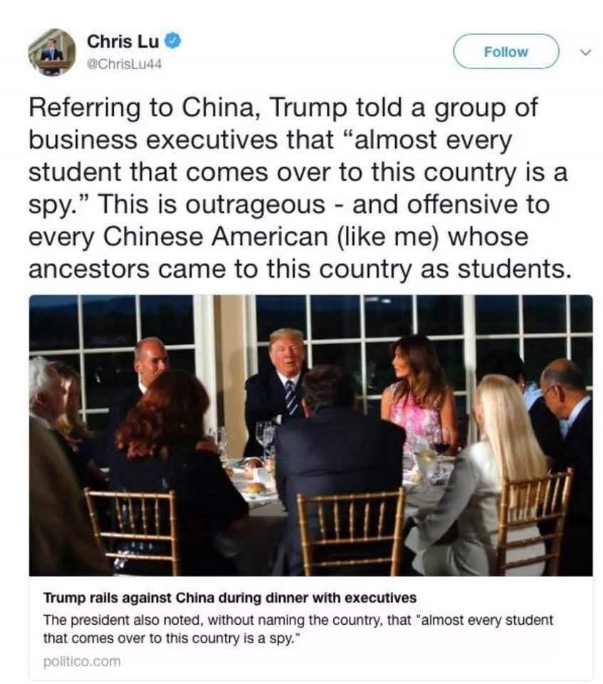 「某國留美學生都是間諜」,美國華人聯合會百人會主席吳華揚譴責川普言論。圖擷自推特