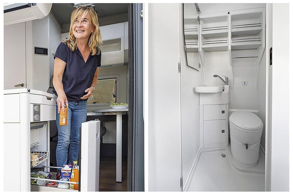 福斯商旅Grand California露營車最大的特點,就是車內有獨立衛浴設備且還有70公升冰箱和收納櫥櫃系統。 圖/福斯商旅提供