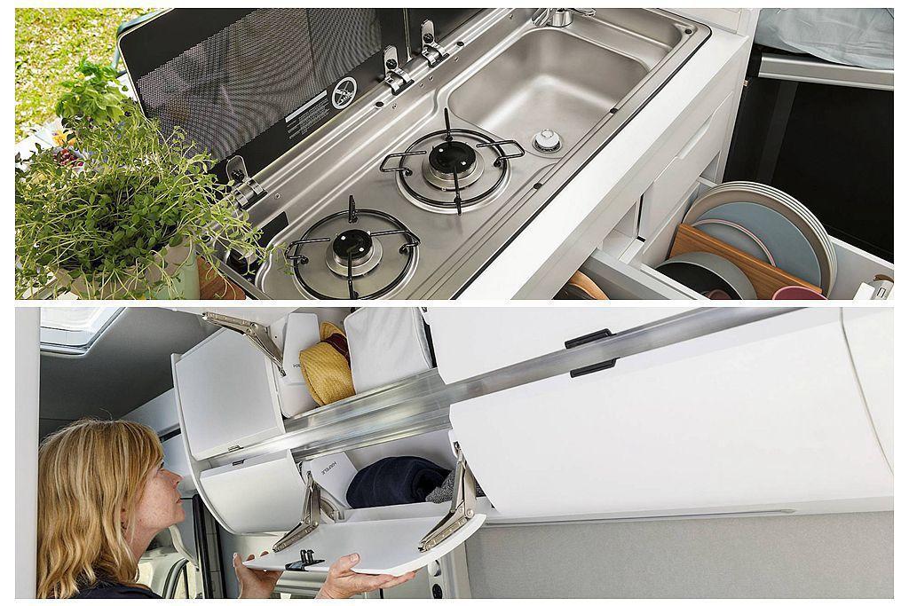 雙爐具與洗滌槽已經是標準配備,重要的是福斯商旅Grand California車內還有許多置物空間。 圖/福斯商旅提供