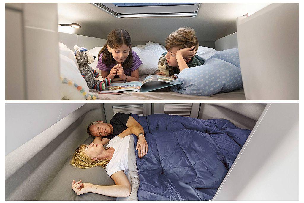 不同California上掀車頂設計,Grand California車頭上方不僅可容納兩名小孩的躺平休息空間,車尾也還能再提供兩個大人的收納式床鋪。 圖/福斯商旅提供
