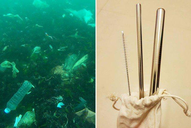 女網友在潛水的時候撿到用來代替塑膠吸管的不鏽鋼吸管,痛斥「丟的人到底知不知道不鏽...