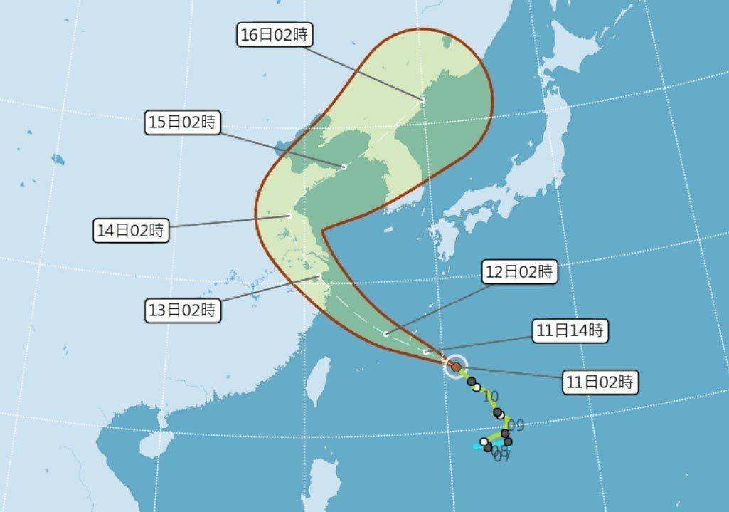 摩羯颱風潛勢圖。圖/擷取自中央氣象局網站