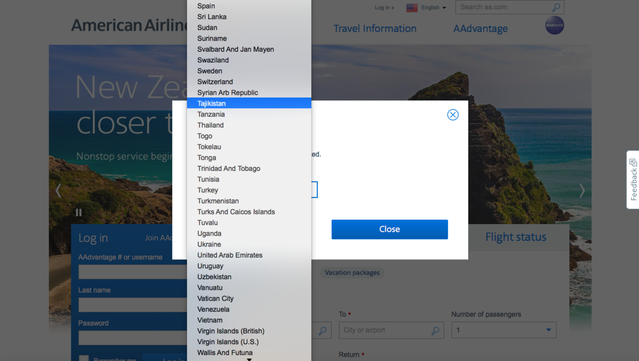 美國航空網站查詢機場「國家/區域」選項列表,8月10日查詢時未見台灣選項。圖/取...