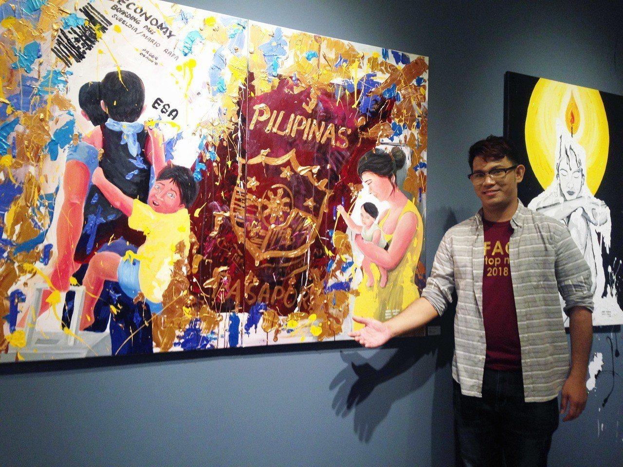 馬力歐用油畫,畫出一家人望著離開家鄉父親背影,露出惆悵不捨神情。記者郭宣彣/攝影