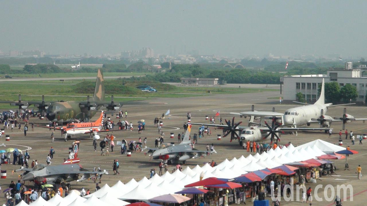 會場已有壯觀的F-16、IDF、幻象2000等3型主力戰機、P-3C反潛機、E-...