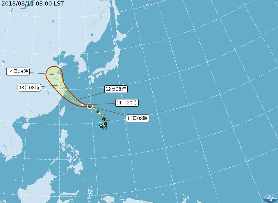 中央氣象局表示,輕颱「摩羯」預計今天將通過琉球群島附近影響當地天氣。圖/擷取自中...
