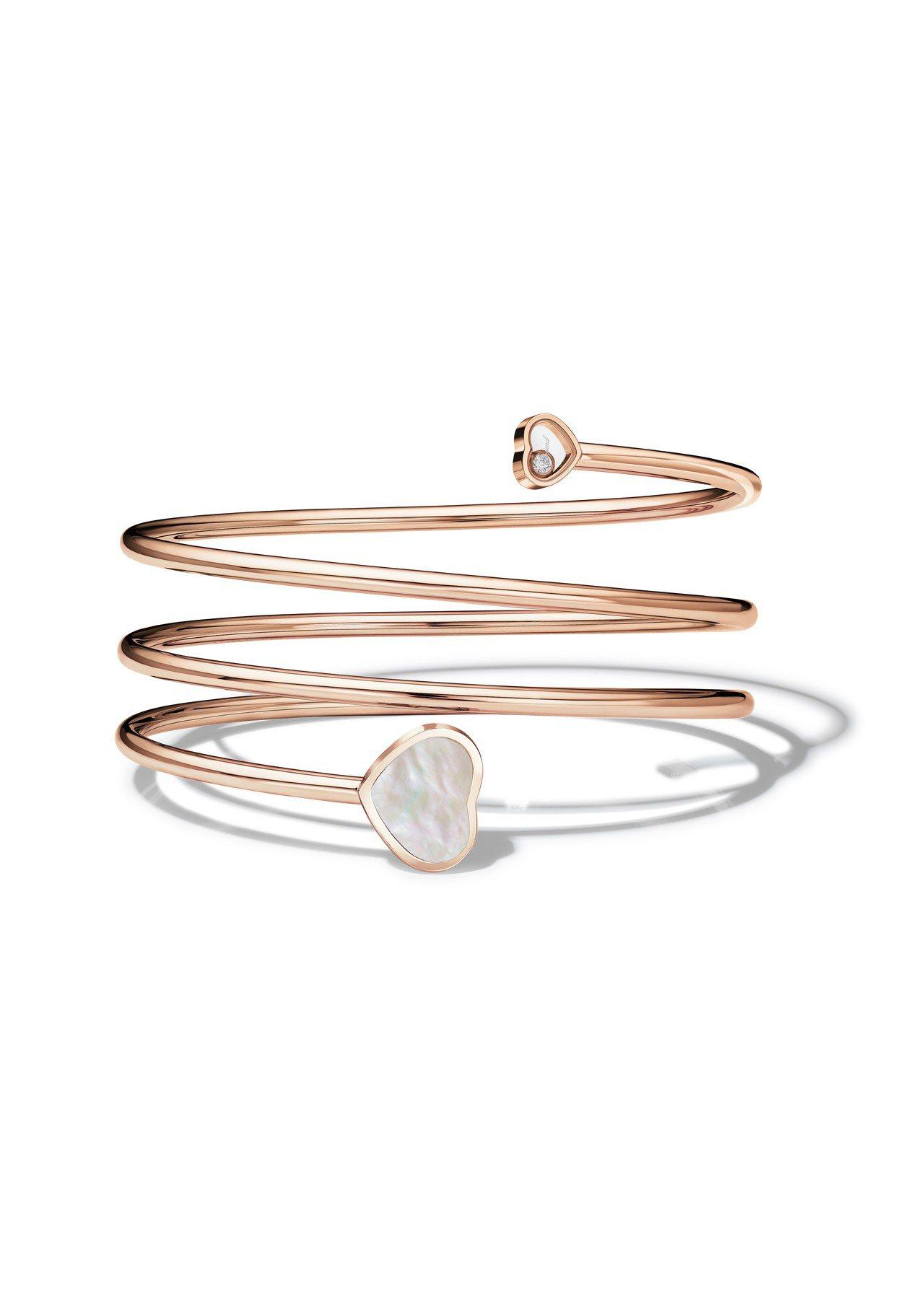 蕭邦Happy Hearts Twist 系列手鐲,18K玫瑰金手鐲鑲嵌心型珍珠...