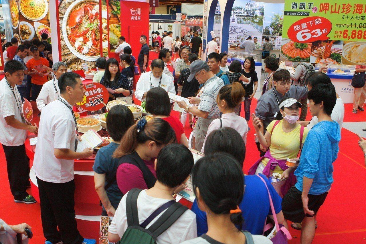 海霸王今年美食展2日累積業績已達660萬,表現不俗。記者陳睿中/攝影