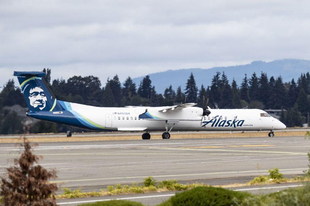 失竊的地平線航空龐巴迪Q400飛機同型機。(歐新社)