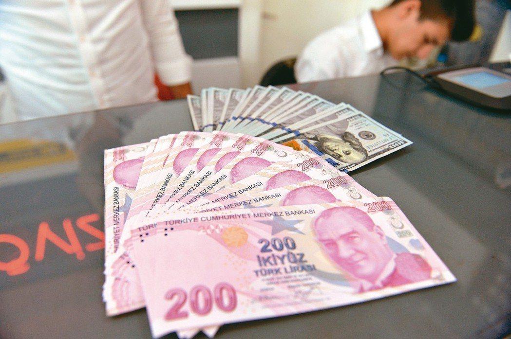 土耳其里拉10日對美元大幅貶值(見圖)。 新華社、路透