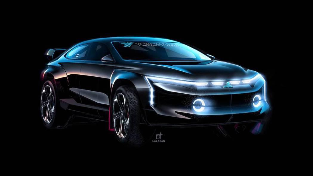 Lancer crossover coupe前臉的燈條設計頗富科技感。 摘自Ti...