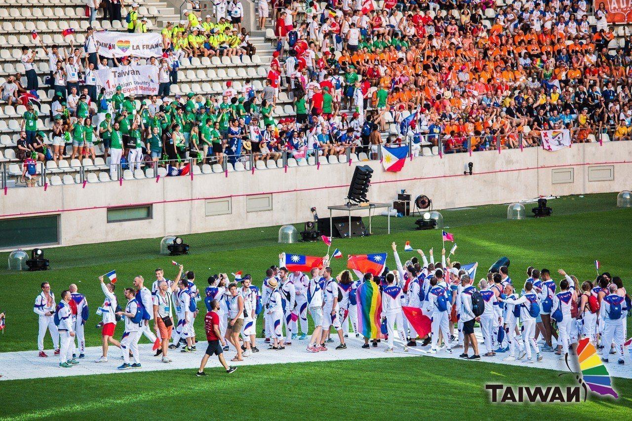 台灣首次派隊參賽國際同志運動會(Gay Games),拿下10金5銀3銅佳績。圖...