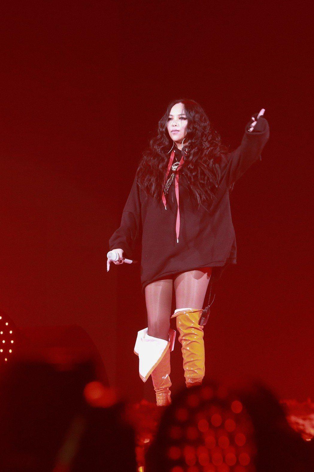 張惠妹站上小巨蛋舞台,忍不住喊「跳起來」。記者林士傑/攝影