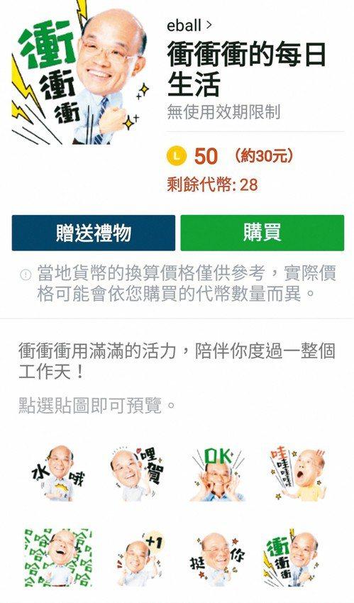 蘇貞昌僅隔一周,也由辦公室成員設計上架「衝衝衝的每日生活」貼圖。 記者施鴻基/翻...