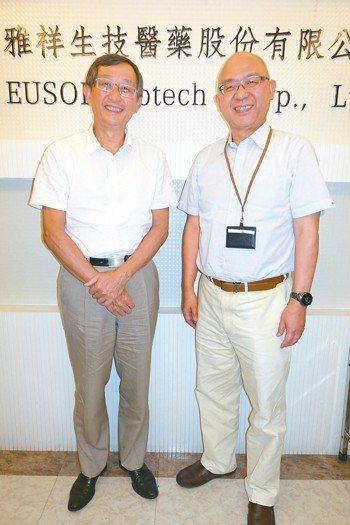 雅祥生醫董事長張鴻仁(左)、總經理黃金鼎(右)。 記者黃文奇/攝影