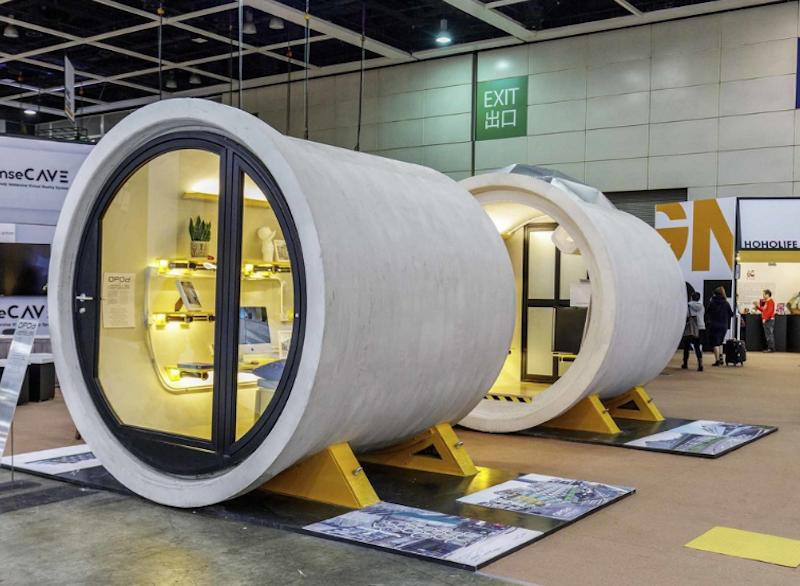 水管屋由兩段直徑2.5公尺的水管組成,使用面積大約28坪。圖擷自 家園新聞