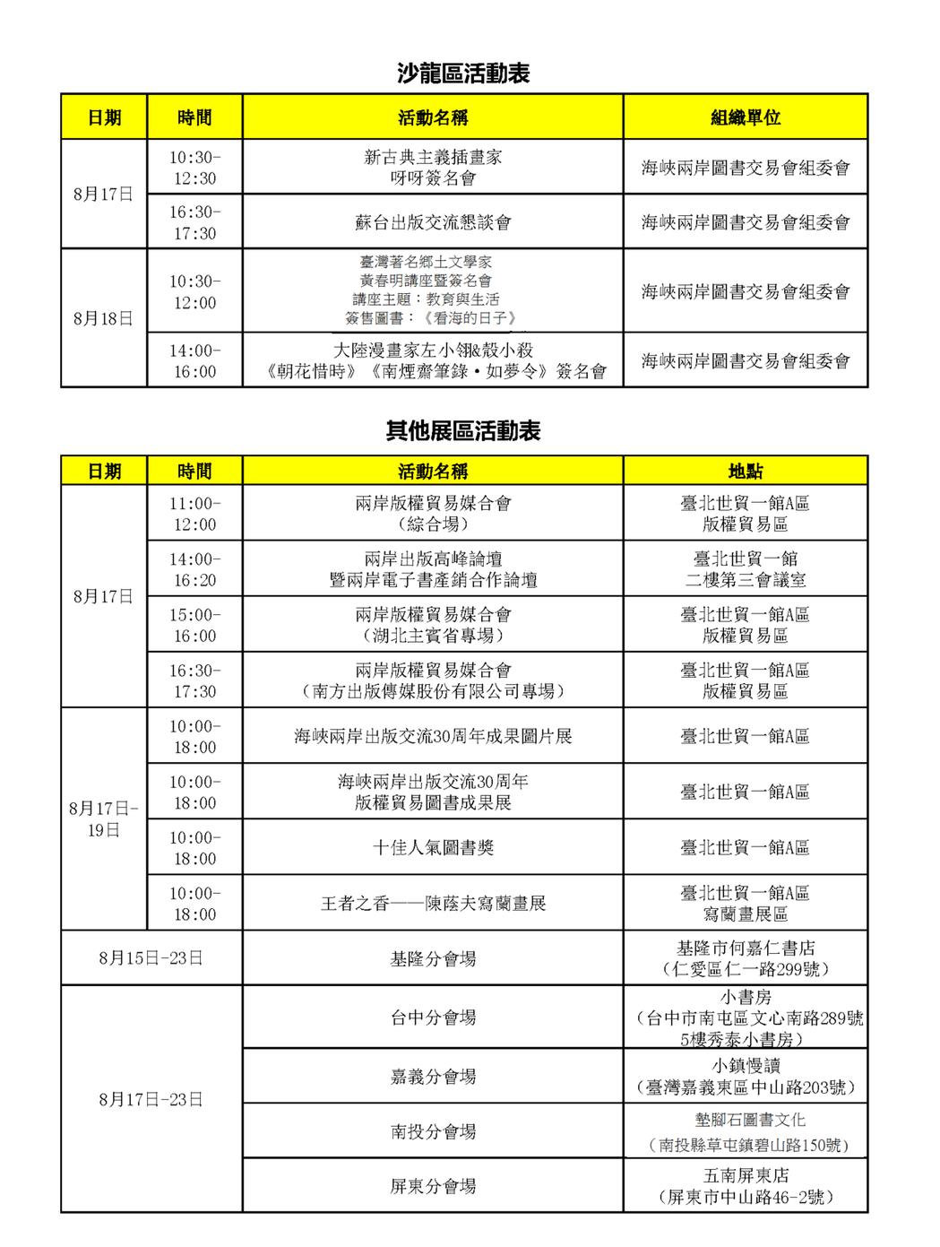 沙龍區與其他展區活動節目表。 圖/海峽兩岸圖書交易會提供
