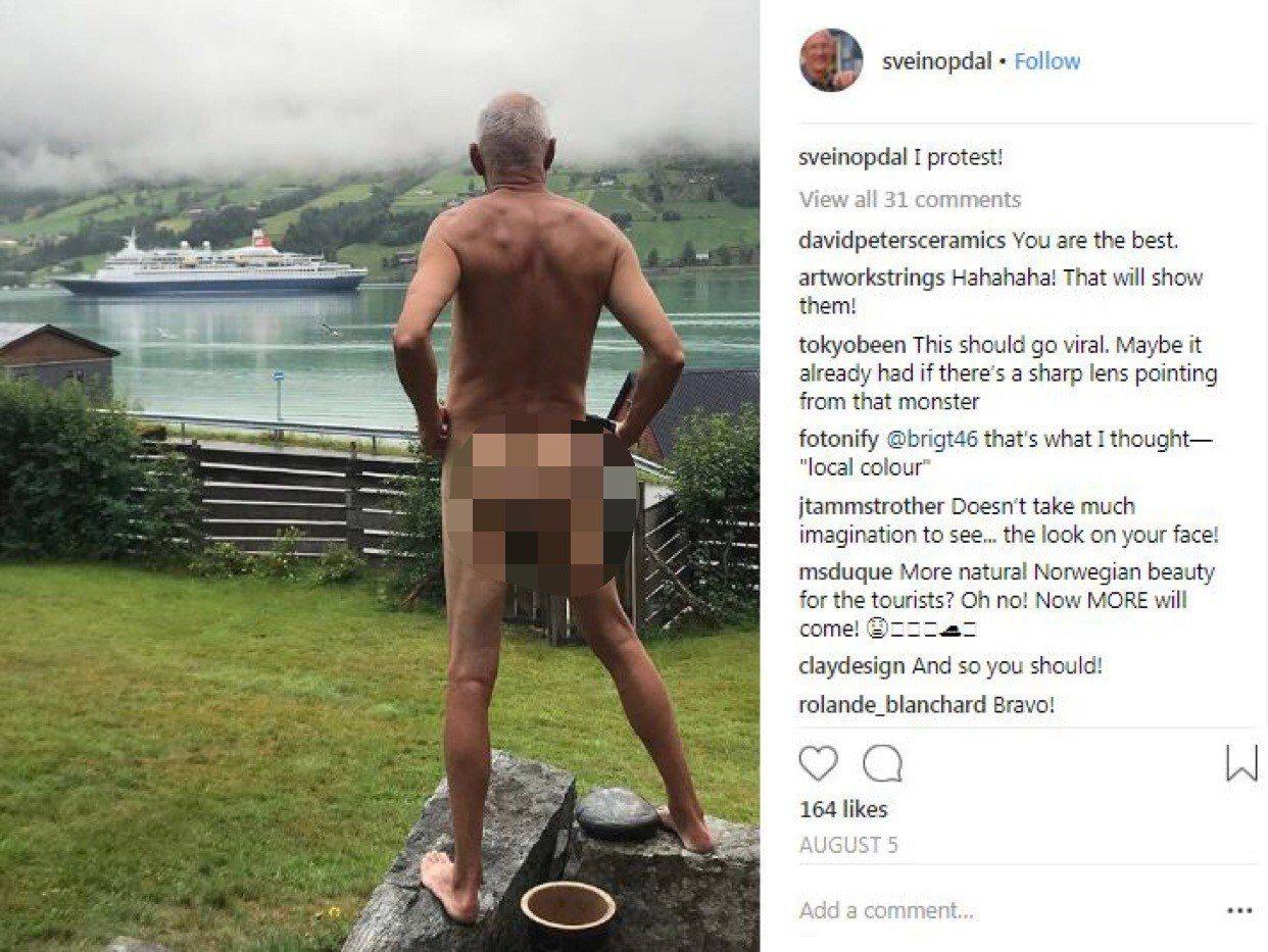 史維恩(Svein Opdal)將照片發佈在Instagram上,以示不滿。圖擷...