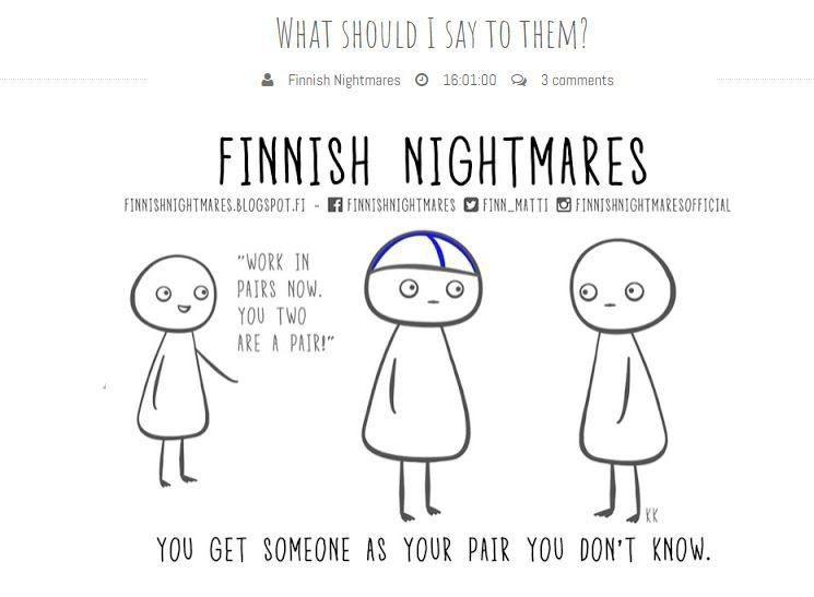 與不認識的人一起工作。圖擷自Finnish Nightmares