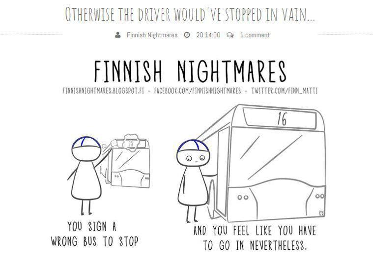 攔錯公車,卻硬著頭皮上車。圖擷自Finnish Nightmares