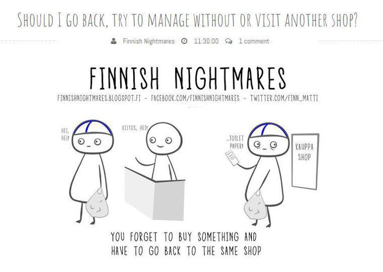 忘記買東西,卻不敢走回店裡。圖擷自Finnish Nightmares