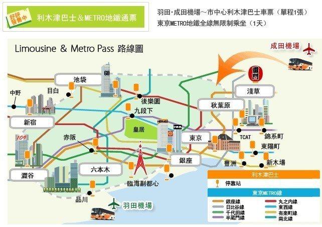 Metro&利木津巴士通票(成田機場)。