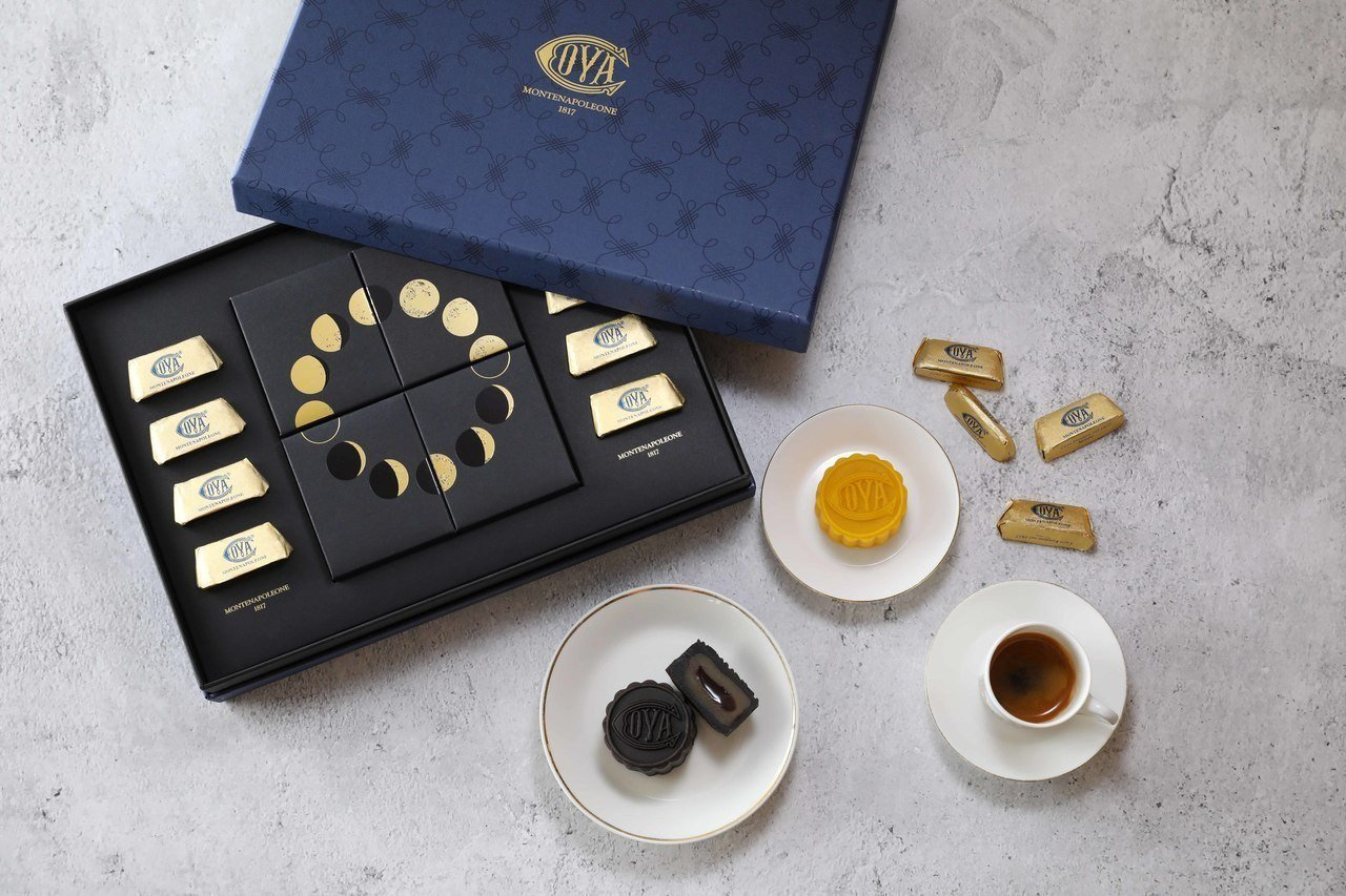 COVA中秋禮盒含8塊占杜亞金磚巧克力、太妃巧克力流芯月餅2入及香橙巧克力流芯月...