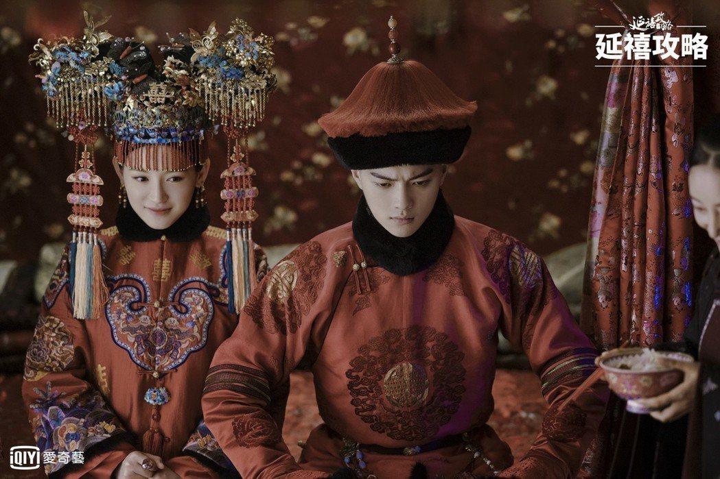 「傅恆」許凱劇中被迫娶蘇青飾演的「爾晴」。圖/愛奇藝台灣站提供