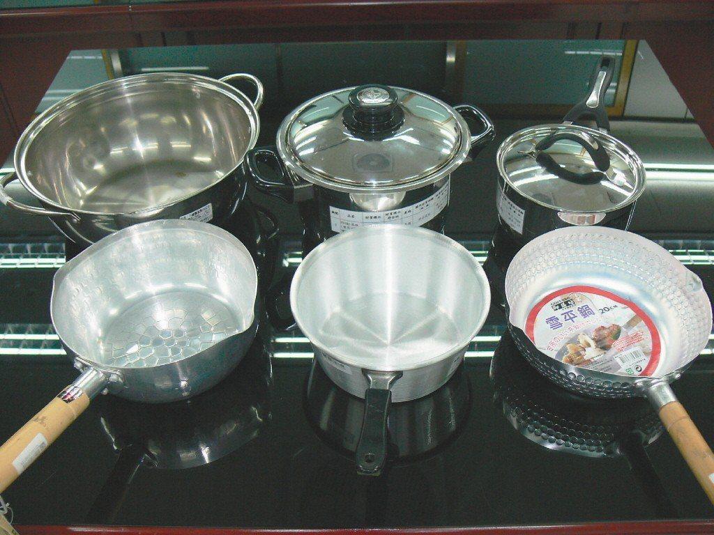 圖中上排為不鏽鋼鍋,下排為鋁鍋。報系資料照