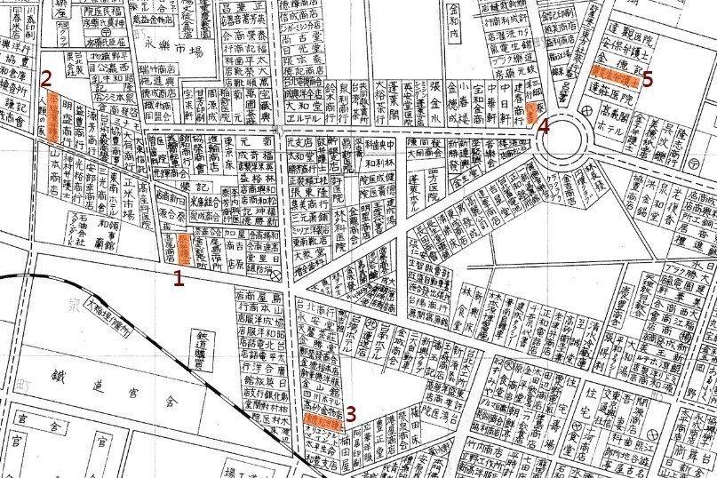 1935年臺灣博覽會紀念臺北市街圖,編號依序為1.蔡式穀事務所 2.李瑞漢事務所...