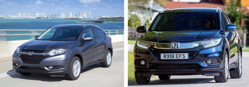 (左)小改前、(右)小改款後HR-V加入了家族化水箱罩 摘自Honda