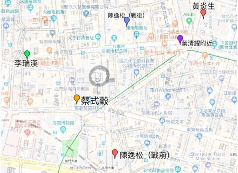 事務所現今所在地(套疊google地圖)。 圖/作者自製;圖層來源:台北市百...