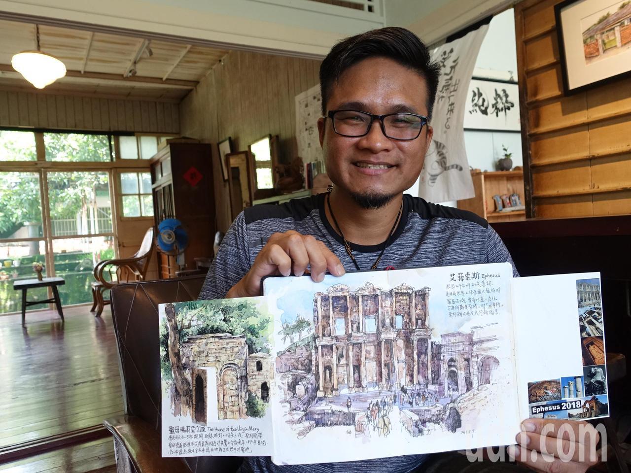 城市速寫畫家鄭開翔最近到土耳其旅遊,一口氣完成一本畫冊,記錄土耳其所見所聞。記者...